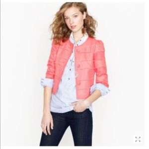 J. Crew Cropped Fray Jacket in Coral Size 8